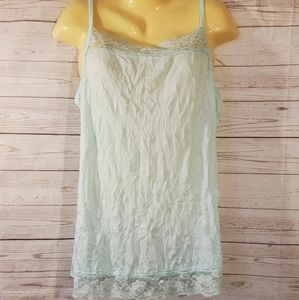 Maurices Light Blue Lace Trim Tank Top